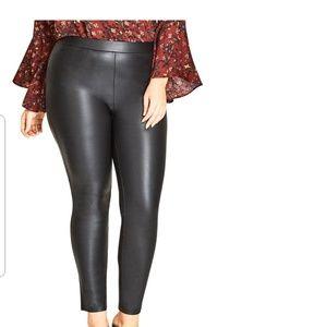 city chic asha legging wetlook black plus NWT
